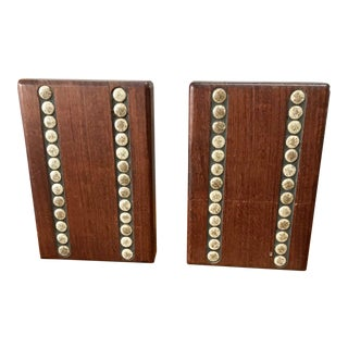 Jane and Gordon Martz Walnut & Tile Bookends - a Pair For Sale