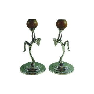 Antique Deco Chrome Nude Candleholders - A Pair