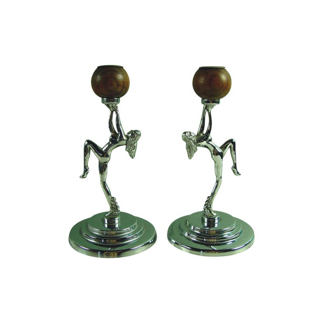 Antique Deco Chrome Nude Candleholders - A Pair - Image 1 of 4