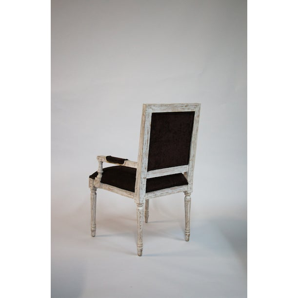 Reproduction French Armchair in Pale Wood Carved Frame with Deep Brown Woven Upholstery.