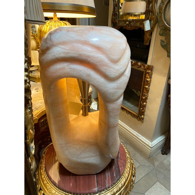 Stone 1960's Pink/Rose Alabaster Sculpture Lamp For Sale - Image 7 of 13