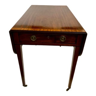 19th Century Mahogany and Satinwood Pembroke Drop Leaf Side Table For Sale