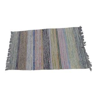 "Swedish Vintage Handwoven Rag Rug -- 3"" X 5"""