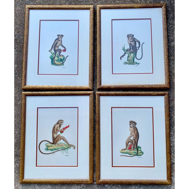 Metal Set of 4 Chelsea House Hand Painted on Silk Monkey Paintings For Sale - Image 7 of 8