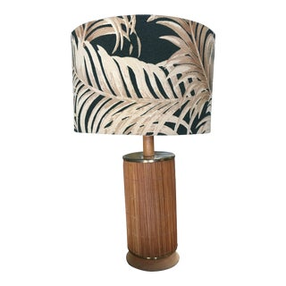 Mid Century Century Bamboo Tropical Lamp with Fabric Palm Leaf Shade For Sale