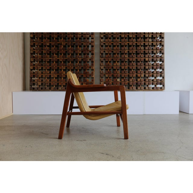 "Tove & Edvard Kindt Larsen ""Fireplace"" chair. Produced by Gustav Bertelsen. Original Leather."