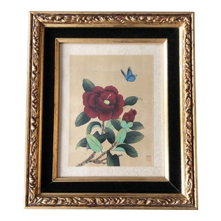 Original Vintage Chinese Still Life Watercolor Painting With Butterfly & Ornate Frame Signed For Sale
