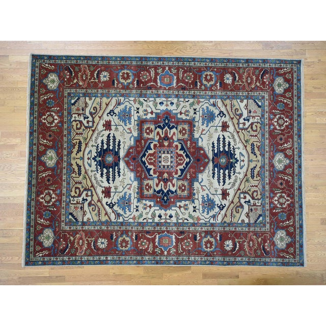 Hand-Knotted Wool Serapi Heriz Tribal Design Rug- 9′ × 11′9″ For Sale - Image 13 of 13