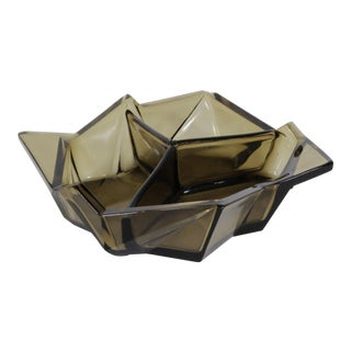 Rare Ruba Rombic Art Deco Smoky Topaz Glass Bon Bon Dish For Sale
