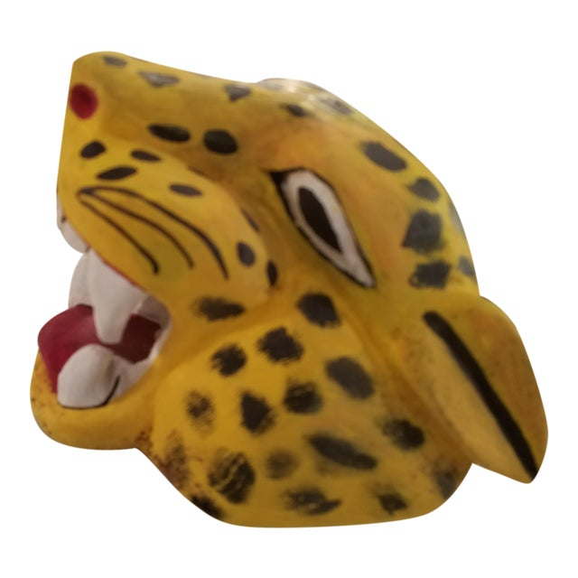 Hand Carved and Painted Mexican Folk Art Jaguar Mask For Sale