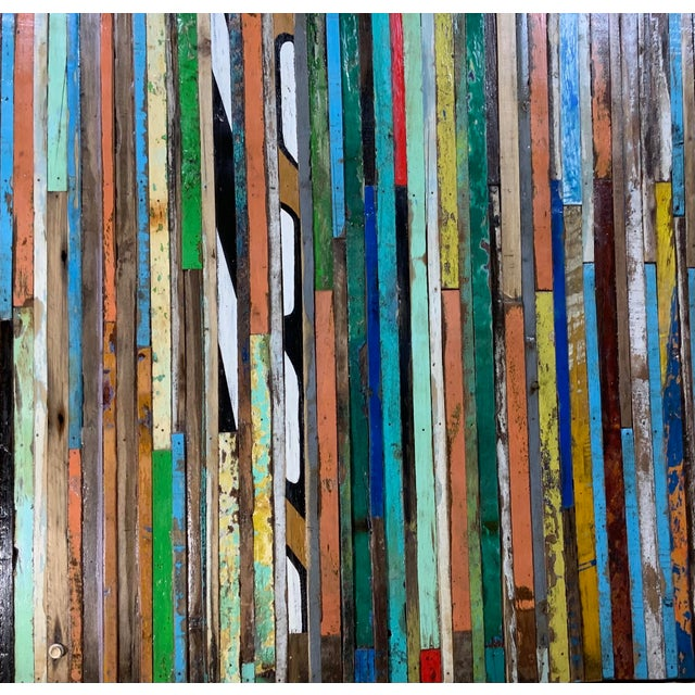 Abstract Abstract Reclaimed Wood Wall Sculpture For Sale - Image 3 of 13