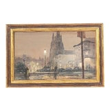 Image of Vintage Oil on Canvas Street Scene Painting For Sale