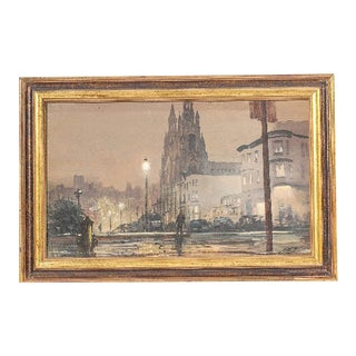 Vintage Oil on Canvas Street Scene Painting For Sale