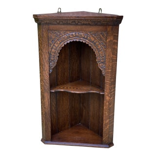 1890s Antique English Oak Corner Cabinet Hanging Wall Cabinet For Sale