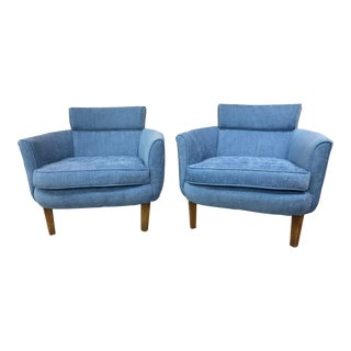 50s Blue Club Chairs - a Pair For Sale
