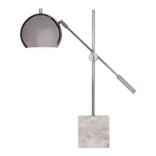 Mod Marble and Chrome Adjustable Lamp For Sale