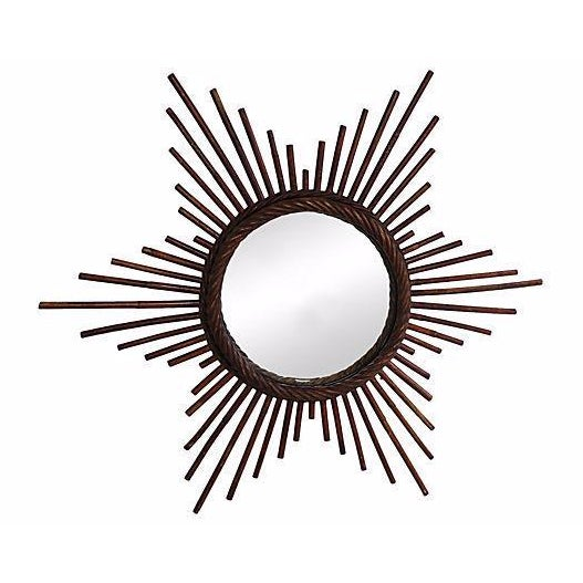 Vintage French Rattan Starburst Wall Mirror - Image 1 of 2