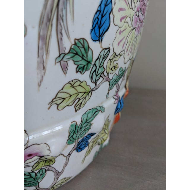 1980s 1980s Chinese Bird and Floral Detailed Enameled Porcelain Garden Stool For Sale - Image 5 of 12
