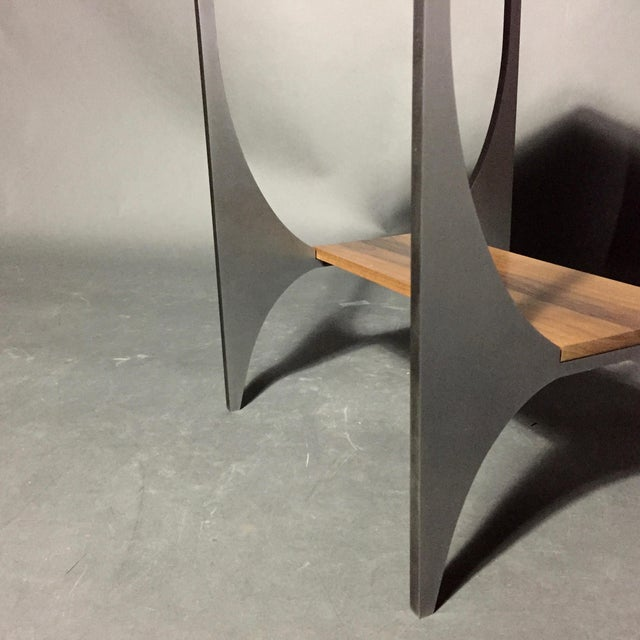 "Metal Richard Velloso ""Curves of Grace"" Black Walnut & Steel Side Tables For Sale - Image 7 of 10"