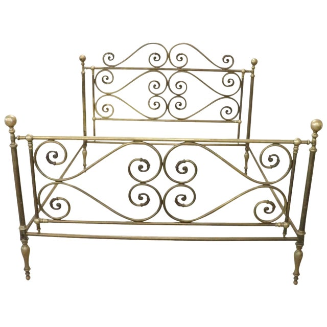 20th Century Italian All Brass Double Bed For Sale