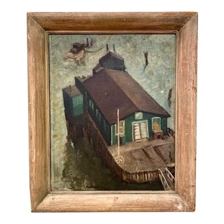 Wpa Era 1940 Oil Painting - Houseboat - Signed For Sale