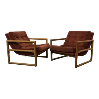Vintage Mid-Century Modern Milo Baughman Scoop Lounge Chairs- A Pair For Sale