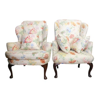 George II Walnut and Floral Upholstered Wing Chairs - a Pair For Sale