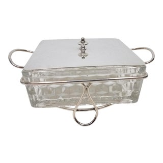 Antique English Butter or Jam Dish With Crystal and Silverplate Holder and Top For Sale