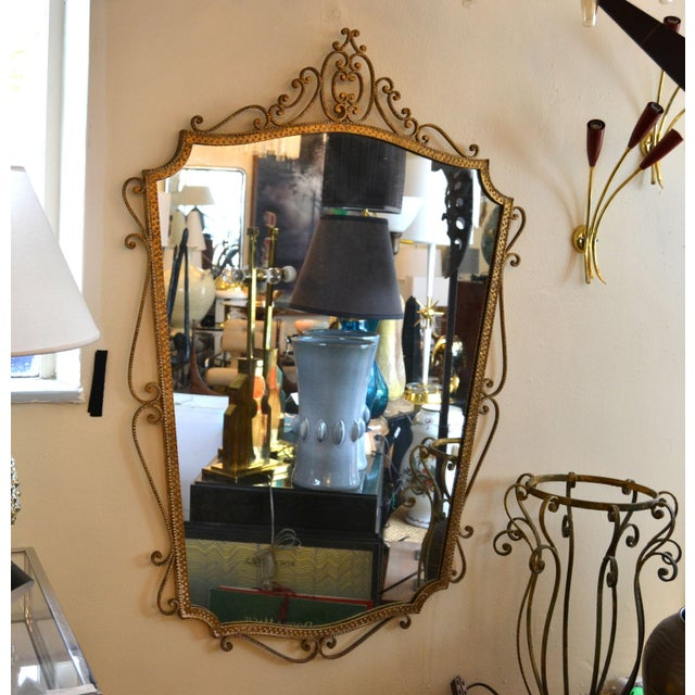 Art Deco Style Italian Gilt Wrought Iron Wall Mirror by Pier Luigi Colli For Sale - Image 11 of 12