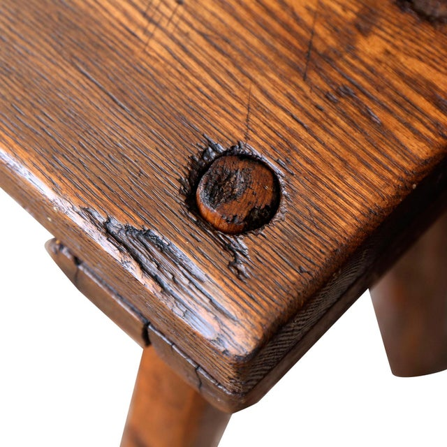 Early 19th Century 19th Century Primitive Oak Bench For Sale - Image 5 of 10