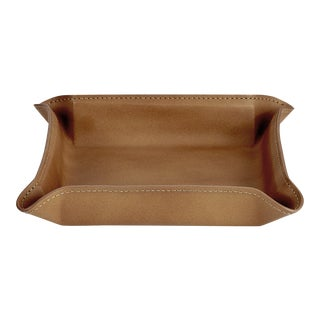 Valet Tray, Genuine Leather in Tan For Sale