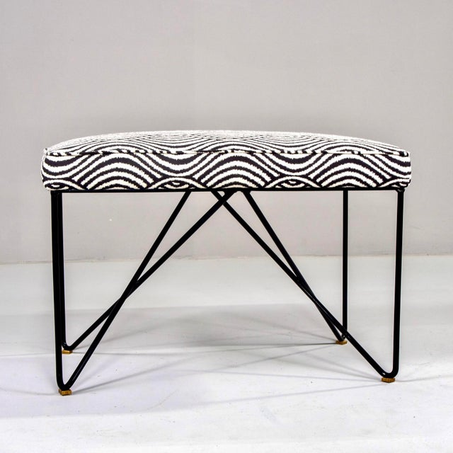 Metal Italian Mid Century Style Bench With Black Iron Hairpin Legs For Sale - Image 7 of 11