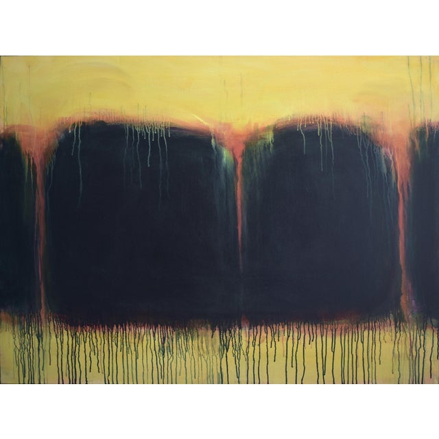 """Yellow Sunset"", Contemporary Abstract Painting by Stephen Remick For Sale"