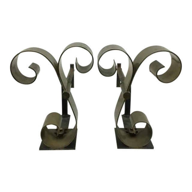 Mid Century Solid Brass Scroll Andirons Attributed Raymond Subes For Sale