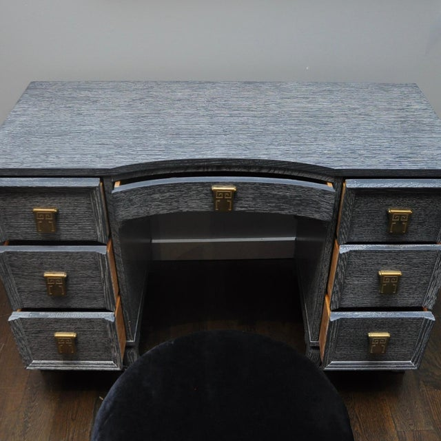 Mid Century Cerused Vanity & Stool For Sale In New York - Image 6 of 10