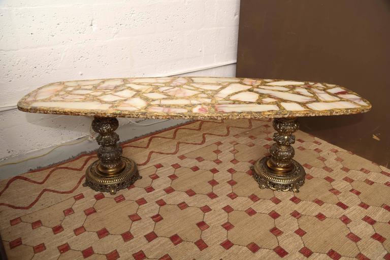 1960s Italian Onyx, Gold Leaf, And Brass Mosaic Italian Coffee Table    Image 2