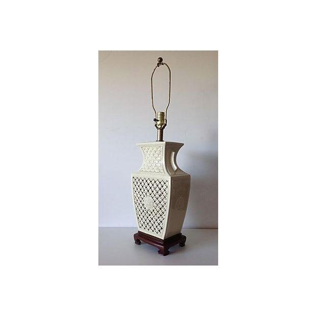 Porcelain Chinoiserie Lamp on Wood Base - Image 5 of 7