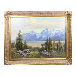 """Triple Glaciers Mt. Moran"" Oil Painting by Jim Wilcox For Sale"