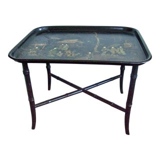 Antique Japanese Papier Mache' Tray Table For Sale