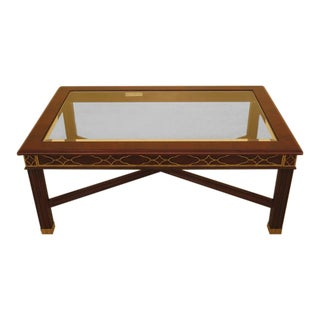 Henkel Harris Chippendale Mahogany Glass Top Coffee Table For Sale