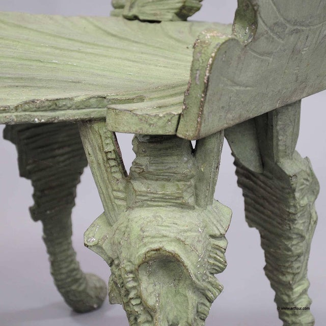 Antique Wooden Carved Grotto Armchair Ca. 1880 For Sale - Image 9 of 11