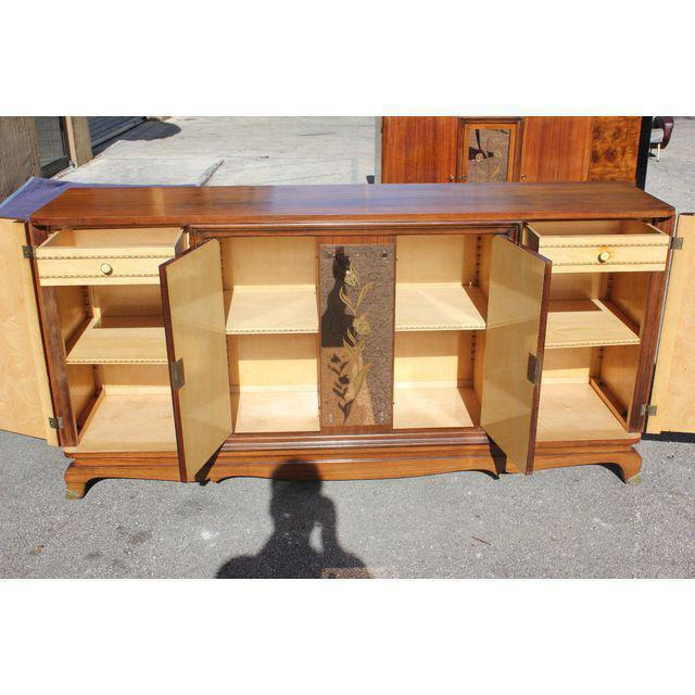 Beautiful French Art Deco exotic Macassar ebony sideboard or buffet, circa 1940s. This piece displays very high levels of...
