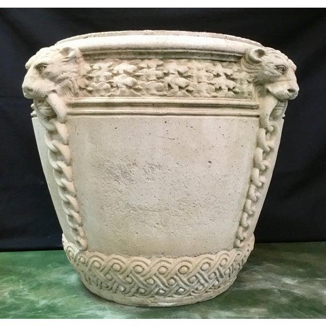 White Vintage Concrete Lion Planters - a Pair For Sale - Image 8 of 13