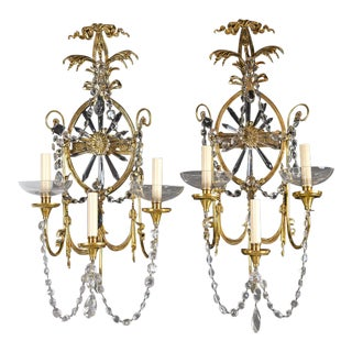 Caldwell Three Light Bronze Sconces with Crystals - a Pair For Sale