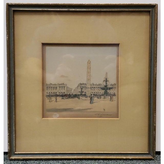 """Tavik F. Simon - """"Place De La Concorde, Paris"""" Hand Colored Etching (Czech) (Circa 1905) For Sale In New Orleans - Image 6 of 6"""