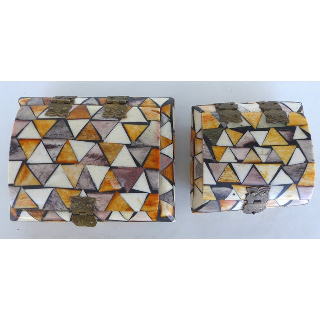 Inlaid Over-Dyed Bone Boxes - A Pair - Image 2 of 10
