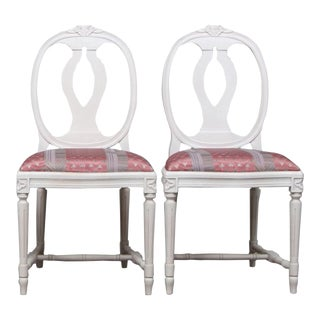 1960s Vintage Gustavian Rose Chairs- A Pair For Sale
