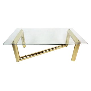 1990s Mid-Century Modern Brass and Glass Z Coffee Table For Sale