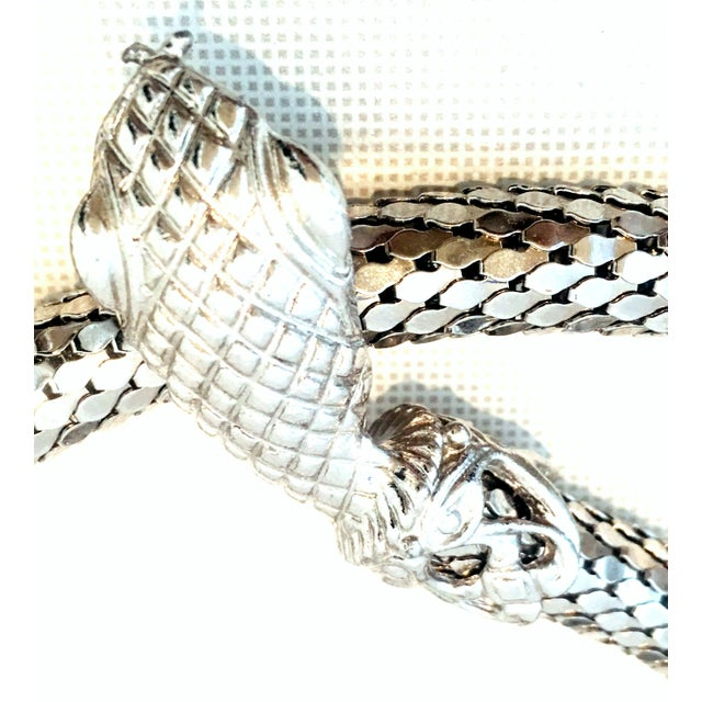 Late 20th Century 70's Silver Metal Mesh Coil Snake Whiting & Davis Necklace For Sale - Image 5 of 10