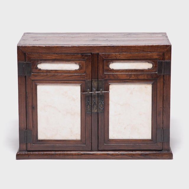 Metal 18th Century Chinese Chest With Marble Paneled Doors For Sale - Image 7 of 7